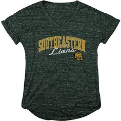Blue 84 Women's Southeastern Louisiana University Dark Confetti V-neck T-shirt (Green Dark, Size Medium) - NCAA Licensed Product, NCAA Women's at A...