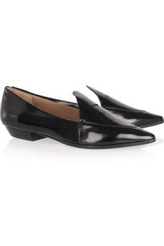 Sigerson Morrison - Pointed glossed-leather flats