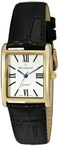 Peugeot Women's '14k Gold Plated Tank Roman Numeral Band' Quartz Stainless Steel and Leather Dress Watch, Color:Black (Model: 3036BK)