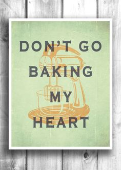 Kitchen Wall Decor Typographic print Baking by HappyLetterShop