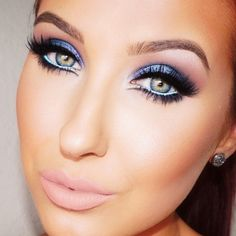 gorgeous eye make up, blue and pink, nude lips, eyeshadow