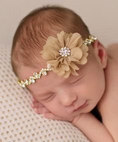 This Gold & Tan Rhinestone Flower Headband is perfect! #zulilyfinds