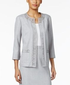 Alfred Dunner Petite Rose Hill Laser-Cut Jacket - Gray 18P