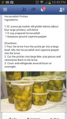 How To Make Homemade Pickles In Vinegar Horseradish Pickles, Caramel Rolls, Canning Pickles, Good Food, Yummy Food, Homemade Pickles, Cooking Recipes, Cooking Ideas, Fermented Foods