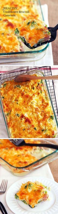 Healthy Cauliflower Broccoli Casserole-family will love this.
