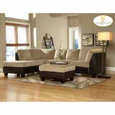 o-piece Royce sectional collection creates a cozy area for relaxation. Suede soft bella microfiber seat and back nesting in a frame of dark brown bi-cast vinyl creates a warm contrast for any contemporary living room. Royce Collection is available in brown bella microfiber and herbal be
