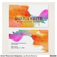 artist watercolor hadpainted look business card - Business Card Stickers