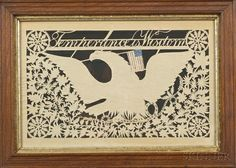 """eagle and temperance papercut, attributed to Isaac Stiehly, Mohantongo Valley, Pennsylvania, c.1835, inscribed """"Temperance is Wisdom"""""""