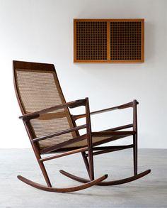 Joaquim Tenreiro; Unique Jacaranda and Cane 'Cadeira de Ambalo' Rocking Chair, 1948.