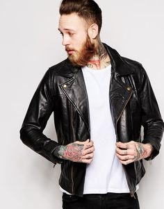$215, Black Leather Biker Jacket: Only Sons Only Sons Leather Biker Jacket. Sold by Asos. Click for more info: https://lookastic.com/men/shop_items/291007/redirect