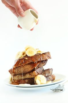 "Vegan Banana French Toast! 5 ingredients, one bowl and sound SO delicious! !! Description... ""One Bowl Vegan Banana French Toast that's reminiscent of banana bread. Super moist, tender with a slight crisp. Perfect for quick weekday and slow weekend breakfasts.""!!!!"