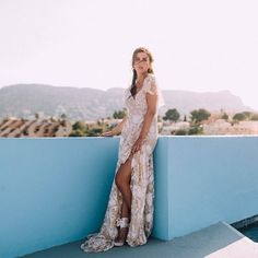 Thanks @wildatheartbridal, this image is stunning stunning stunning! The Elea Gown looks so pretty in this glorious photo. : @svenjaphoto XXX #ruedeseine #nomadiclove #eleagown