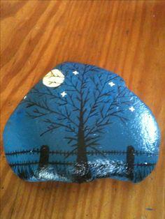 Halloween, spooky tree painted rock.