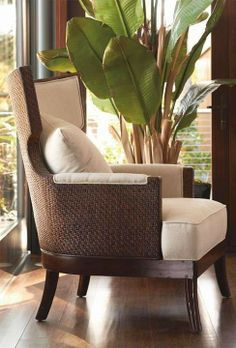 Sophisticated coastal style in mahogany and rattan. Colonial style chair I like Tropical Home Decor, Tropical Interior, Tropical Houses, Tropical Furniture, Modern Tropical, Tropical Colors, Tropical Style, Modern Coastal, West Indies Decor