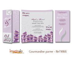 faire part mariage parme gris blanc, gourmandise parme, macarons et sucette, macarons violet, mariage gourmand, imagineo