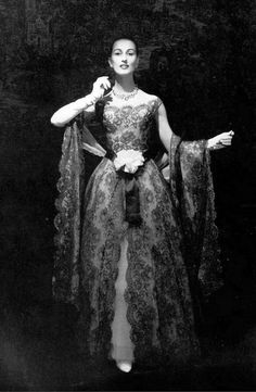 1957 - Marina in gown of brown lace over white satin with matching lace stole, by Lanvin-Castillo