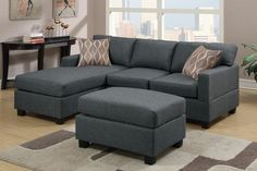 3 pc Blue Grey blended linen upholstered sectional sofa with reversible chaise and ottoman