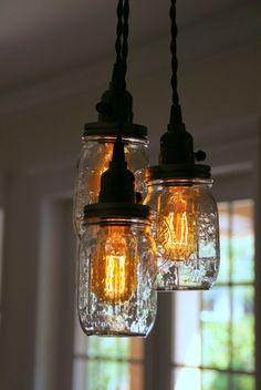 3 & 5 Licht Einmachglas Kronleuchter  klare von IronLumberandLight