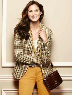 patterned, classic jacket with straight leg pants, cami and jewels