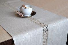 Natural Table Runner Organic Undyed Linen Gray / by LinenLifeIdeas, €25.09