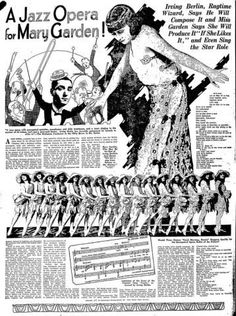 This is a newspaper article from the 1920s about a jazz concert. This was the beginning of the Jazz age. This particular show was a Jazz Opera.