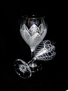 Moon Flower Hand Painted Wine Glasses Silver Frost Wedding Glassware