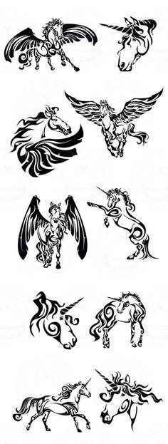 Pegasus unicorn horse lineart