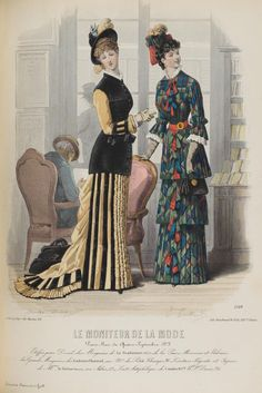 Le Moniteur de la Mode 1878. Natural form era, period. Victorian fashion plate. Yellow and black, blue and red/green dress.