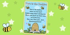 Here is the Beehive Nursery Rhyme Poster. Lots of other classic rhymes. Just browse...