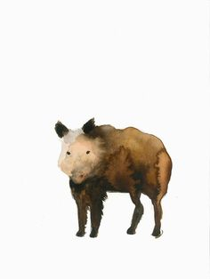 "Sanglier ""Sus scrofa"" Peinture Aquarelle Originale décoration murale animal sauvage illustration 24x32 cm brun marron"