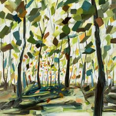 Abstract Tree Painting With Spring Colors. Brown Trunks. Green Yellow Orange Leaves. By Holly Van Hart.