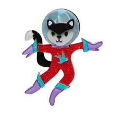 Erstwilder Cosmic Kitty Brooch She rsquo s waited nine lifetimes to make the trek into outer-space Her only concern in space no one can hear you purr Space Cat, Vintage Children's Books, Colourful Outfits, My Collection, Cosmic, Childrens Books, Whimsical, Disney Characters, Fictional Characters