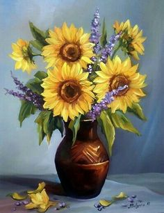Flowers art painting oil vase 49 ideas for 2019 Art Floral, Sunflower Vase, Sunflower Bouquets, Flower Vases, Flower Art, Images D'art, Sunflowers And Daisies, Yellow Flowers, Illustration Blume