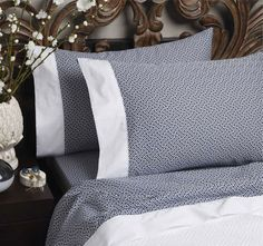 Florence Broadhurst's striking Chinese Key design featured in Legend's beautiful sheet sets. Here in the colour ink, the set is matched with the subtle Chinese Key matelasse coverlet. Linen Bedding, Duvet, Cheap Bed Linen, King Bed Sheets, Florence Broadhurst, Wallpaper Companies, Superking Bed, Quilt Cover Sets, Bed Sheet Sets