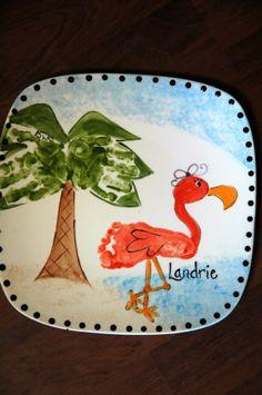 hand print palm tree& foot print flamingo