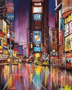 WHO: Paul Kenton; WHAT: 'Electric City' paint on canvas with ink overlay ; WHY: I like the bright colours and hurried mark making, as it shows the rush and busyness of the city. This piece shows no people, subverting our expectations of a busy city. New York Painting, City Painting, Oil Painting Abstract, Painting Art, Paintings, City Landscape, Urban Landscape, Paul Kenton, Canvas Art