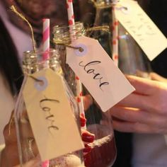 Our vintage milk bottle style cocktails made the perfect welcome drink at our engagement party!