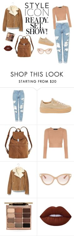 """""""Everyday is a Fashion Show."""" by giaairm ❤ liked on Polyvore featuring Topshop, Puma, BAGGU, Gap, Valentino, Stila, Lime Crime, GetTheLook, outfit and beige"""