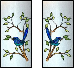 Cabinet Glass ART-GLASS - A008  		  Name: ART-GLASS - A008    a pair of cabinet glass inserts, birds sitting in a branches   http://www.cabinetglass.com/gallery.php?style=art