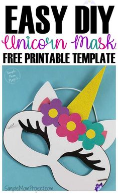 Unicorn Face Masks with FREE Printable Templates - Simple Mom Project  <br> Check out this post for FREE printable Unicorn Face Mask templates! Comes with two cut-out templates AND coloring sheets for kids of all ages! Printable Halloween Masks, Printable Masks, Printable Templates, Free Printables, Animal Face Mask, Animal Masks, Unicorn Mask, Unicorn Printables, Coloring Sheets For Kids
