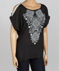 Love this Spin Black Embroidered Cutout Top - Plus by Spin on #zulily! #zulilyfinds