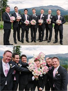 Pink and gray groomsmen ideas. Captured By: Michele Hart Photography ---> http://www.weddingchicks.com/2014/05/29/rain-and-shine-rustic-colorado-wedding/