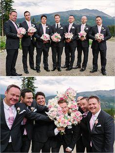 Pink and gray groomsmen ideas. Captured By: Michele Hart Photography ---> http://www.weddingchicks.com/2014/05/29/rain-and-shine-rustic-colorado-wedding/