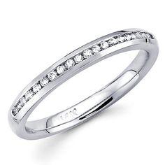14K White Gold Diamond Ladies Women Round Cut Wedding Anniversary Ring Band (1/6 CTW., GH, SI) GoldenMine. $409.00