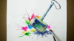 Thor' s  Hammer Watercolor Painting  - JayArt