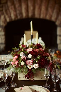 Burgundy, Ivory, Pink, Red Centerpiece Centerpieces Decor Menu Cards Place Settings Spring Tablescape Winter Wedding Reception Photos & Pictures - WeddingWire.com