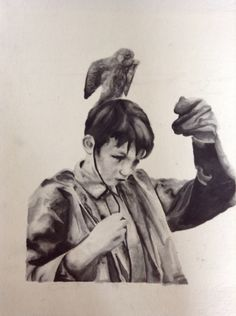 Black and White watercolour on watercolour board. A3 in size. I love this one just because of the simplicity of it. Also from the film 'Kes'