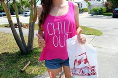 chill out hot pink tank. ♡