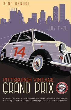 One of the submissions for the 2014 Pittsburgh Vintage Grand Prix Poster. #PVGP @MINIPittsburgh