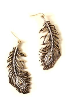 Beaded Feather Earrings OASAP.com